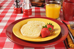 English muffin with strawberries Stock Photo