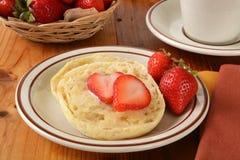 English muffin with strawberries Stock Photo