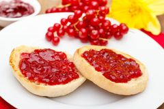English muffins with jam Royalty Free Stock Photography