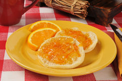 English muffins with orange marmalade Stock Images