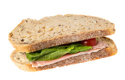English multigrain bread ham sandwich stock photos