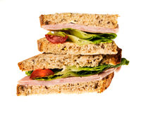 English multigrain bread ham sandwich Stock Photo