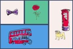 English National Symbols Vector Doodle Set Royalty Free Stock Image