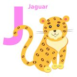 English Nursery card with Lilac Character J Jaguar. English Nursery card with lilac J letter Jaguar on white. Yellow and spotted wild animal on children training Stock Illustration