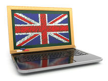 English online. E-learning. Laptop and blackboard with UK flag. 3d Stock Image