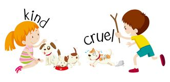 Free English Opposite Word Kind And Cruel Stock Image - 130451811