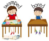 English opposite word swamped and bored. Illustration vector illustration