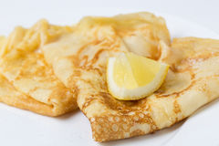 English pancake and lemon Royalty Free Stock Image