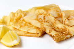English pancake and lemon Royalty Free Stock Photos