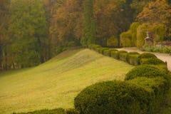 English park  with bushes scene. English park  with bushes in autumn horizontal scene Stock Photos