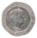 20 English pence. With the image of Queen Elizabeth Royalty Free Stock Photography