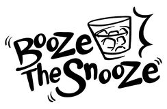English phrase for booze the snooze. Illustration Stock Photography