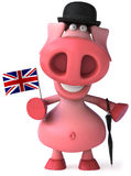 English pig. Cute pink happy pig, 3d generated Stock Image