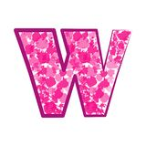 English pink letter W on a white background. Vector Royalty Free Stock Photo
