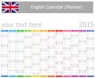 2015 English Planner Calendar with Vertical Months. On white background Vector Illustration