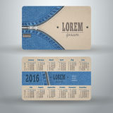 English pocket calendar for 2016. From cardboard and denim, vector template Royalty Free Illustration
