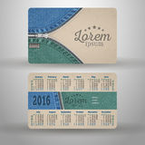 English pocket calendar for 2016. From cardboard and denim, vector template Stock Illustration
