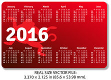 English pocket calendar for 2016 with monkeys Royalty Free Stock Images