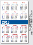 English pocket calendar for 2016 Royalty Free Stock Image