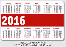 English pocket calendar for 2016. Standard size ISO 7810 ID-1, vector Royalty Free Illustration