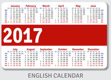 English pocket calendar for 2017. Standard size ISO 7810 ID-1, vector template Royalty Free Illustration