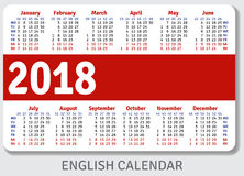 English pocket calendar for 2018 Stock Image