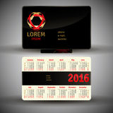 English pocket calendar for 2016. Vector template Stock Illustration