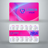 English pocket calendar for 2016. Vector template Vector Illustration