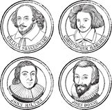 English poets, playwrights portraits stamp set in line art. Portrait illustration stamp set in line art of William Shakespeare, John Milton, Christopher Marlowe royalty free illustration