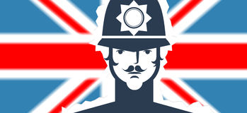 English policeman on flag background Stock Photography