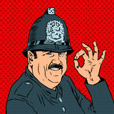 English policeman in uniform and helmet shows stock illustration