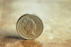 English pound on the old book. Royalty Free Stock Photo