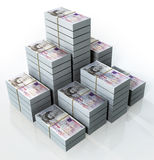 English Pounds. A Group of ten english pound stacks placed on the top of each other on a white background vector illustration