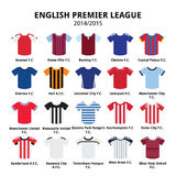 English Premier League 2014 - 2015 football or soccer jerseys icons set. Vecotor icons set of sport shirts - football leagu in England isolated on white Stock Photos
