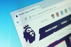 English premier league website. On computer screen royalty free stock photos