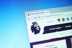 English premier league website. On computer screen stock photos