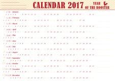 English printable Organizer planner, Calendar 2017. Royalty Free Stock Images