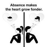 English proverb : Absence makes the heart grow fonder. English proverb: Absence makes the heart grow fonder Stock Photos