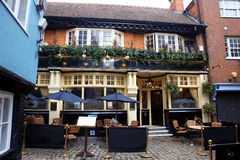 English pub and european street cafe Stock Photography