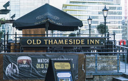 English Pub at River Thames - London England  UK Stock Photo