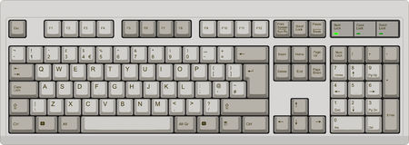 English qwerty UK computer grey keyboard. Vector illustration of a QWERTY UK English layout computer keyboard. All sections are well organized and sorted for Royalty Free Stock Photo