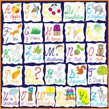 English Rainbow Alphabet With Pictures Stock Images