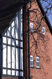 English red bricks house from one side, close up.London Stock Photography