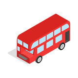 English red bus icon, isometric 3d style Stock Image