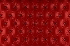 English red genuine leather upholstery, chesterfield style background Stock Photography