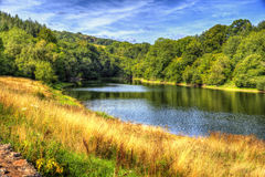 English river with trees and greenery calm water and blue sky and clouds in HDR Stock Image