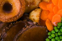 English Roast Beef. Close up image of Roast Beef meal and trimmings royalty free stock photos