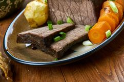 English Roast Beef. Roast Beef roast potatoes and gravy, English cuisine, Britain Traditional assorted dishes, Top view royalty free stock photo