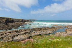 English rocky coastal scene Newtrain Bay North Cornwall near Padstow and Newquay England Stock Photos