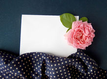 English rose and blank card for text on  fabric Royalty Free Stock Photo